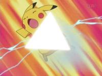 ... y luego lo lanza al oponente, en este caso al Pikachu de Ash.