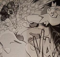 Suicune usando Rayo burbuja contra Débora y su Dragonair
