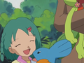 Stephanie junto a sus Pokémon.