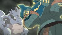 y luego golpea con toda la fuerza de su peso al oponente, en este caso: El Rhydon de Giovanni.