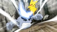 Pikachu de Ash usando cola férrea.