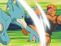 Golduck usando golpes furia en Torkoal.
