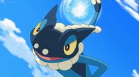 Frogadier de Ash usando hidropulso.