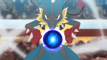 Mega-Lucario de Korrina/Corelia usando esfera aural.
