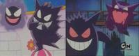 Comparación de los ojos normales de Gengar (derecha), y los ojos blancos por error (izquierda).