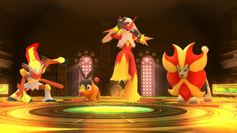 Archivo:Sala de las Llamas en la Liga Pokémon de Kalos SSB4 Wii U.png