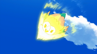 Rowlet de Ash usando picotazo.