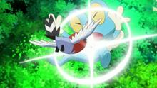 Fletchling de Ash usando picotazo sobre el Froakie de Ash.
