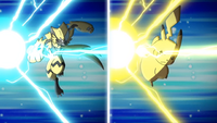 Pikachu y Zeraora usando gigavoltio destructor.