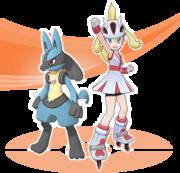 Corelia y Lucario Pokémon Masters.png