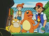 Ash con Charmander tras haber ganado el combate contra Koga.