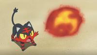Litten de Ash usando ascuas.