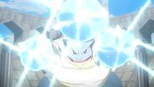 Mega-Blastoise usando hidrobomba.