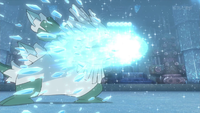 Mega-Abomasnow usando puño hielo.
