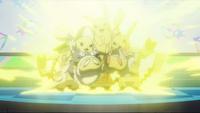 Pikachu normal y Pikachu coquetas usando rayo.