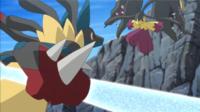 Mega-Lucario usando ataque óseo.