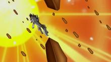 Lycanroc crepuscular de Ash usando tempestad rocosa.