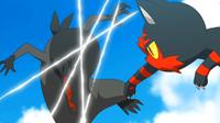 Litten de Ash usando arañazo.
