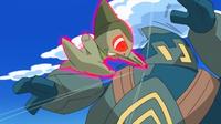 ... y envuelto en un aura roja, empieza a golpear varias veces hasta que debilita al enemigo.