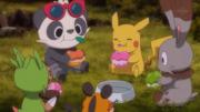 EP897 Pikachu, Pancham, Chespin, Bunnelby y Dedenne comiendo pokelitos.png