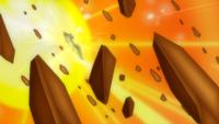 Lycanroc de Ash usando tempestad rocosa.