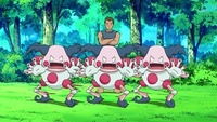 Mr. Mime usando doble equipo.