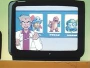El profesor Oak presentando a los tres Pokémon que entregará mañana.