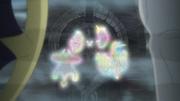 Nebby/Nebulilla usando teletransporte en la proyección de los espíritus guardianes.