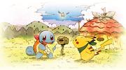Artwork de Pikachu, Squirtle y Pelipper MMERDX.png