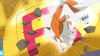 Lycanroc de Ash usando roca veloz.