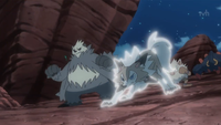 Lycanroc diurno usando roca veloz.