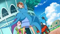 Litten de Ash esquivando el mordisco del Zubat de la recluta del Team Skull.