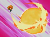 Castform usando meteorobola de fuego.