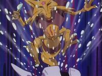 Cloyster usando ventisca contra un Kadabra.