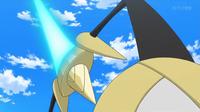 Aegislash de Sawyer/Sabino usando espada santa.