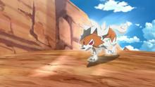 Lycanroc crepuscular de Ash usando roca veloz.