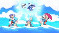 Lapras usando rayo hielo en una fantasía.