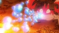 Krabby usando rayo burbuja.