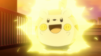 Togedemaru de Chris atrayendo el rayo del Pikachu de Ash con su habilidad pararrayos, que ademas le hace inmune a este.