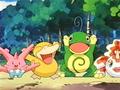 Misty (anime) junto a sus Pokémon.