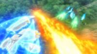 Pyroar usando lanzallamas.