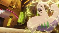 Heliolisk paralizando al Goodra de Ash.