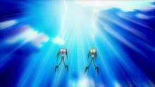 que se convierten en rayos de energía que dispara hacía el cielo