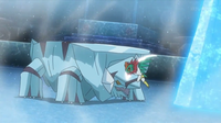 Hawlucha de Ash usando golpe kárate.