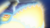 Kyogre primigenio activando su habilidad mar del albor...