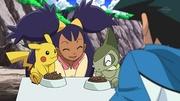 EP671 Axew y Pikachu comiendo.jpg