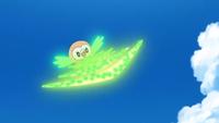 Rowlet de Ash usando hoja afilada.