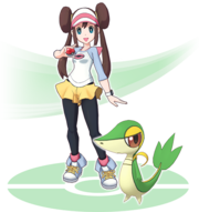 Nanci y Snivy Pokémon Masters.png