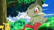 EP669 Axew y Pikachu recolectando manzanas.jpg