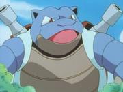 Blastoise gigante junto al Squirtle de Ash.